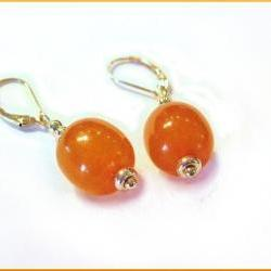 Fine Jewelry 14kt Gold and Genuine Amber Pierced Earrings